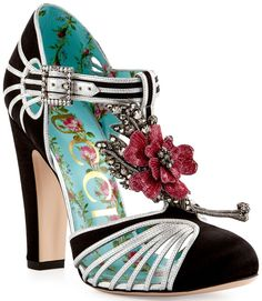 ac6ee9ff3e9 Gucci  Mariska  Flower T-Strap 110mm Pumps Dream Shoes