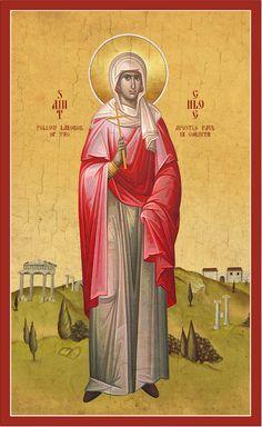 Icon of St. Chloe of Corinth - c. Byzantine Icons, Orthodox Christianity, Orthodox Icons, Greeks, Saints, Image, Art, Jerash, Woman