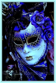 Blue and gold Venetian Carnival Masks, Carnival Of Venice, Venetian Masquerade, Masquerade Party, Masquerade Masks, Venitian Mask, Costume Venitien, Venice Mask, Beautiful Mask