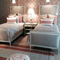 Bedroom Ideas for Two Twin Beds Awesome 22 Guest Bedrooms with Captivating Twin Bed Designs Twin Girl Bedrooms, Guest Bedrooms, Girls Bedroom, Twin Bedroom Ideas, Twin Room, Girls Twin Bed, Bedroom Color Schemes, Bedroom Colors, Bedroom Decor