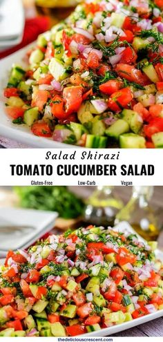 Cucumber tomato salad with fresh herbs, known as Shirazi salad, is a very flavorful and popular Persian Salad dressed with olive oil and lemon juice. Shrimp Salad Recipes, Cucumber Recipes, Summer Salad Recipes, Healthy Salad Recipes, Vegetarian Recipes, Cucumber Tomato Salad, Tomato Salad Recipes, Tuna Salad, Persian Cucumber Salad Recipe