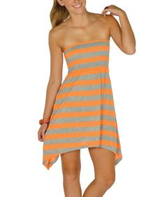 Take a look at this Neon Orange Stripe Shirred Sidetail Dress by Lagaci on #zulily today!