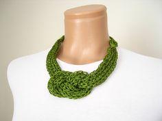Green crochet necklace handmadenew accessory by vyldanstyl on Etsy, $28.50