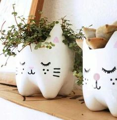 Kitty planters from pop bottles