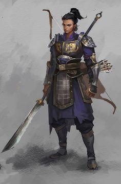 m Ranger Med Armor Glaive Longbow Traveler ArtStation by Z Y lg Archer Characters, D D Characters, Fantasy Characters, Fantasy Character Design, Character Concept, Character Inspiration, Character Art, Fantasy Armor, Medieval Fantasy
