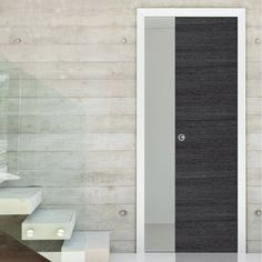 Single Pocket Eco Grigio Ash Grey with horizontal grain sliding door system in three sizes. #pocketdoor #interanlpocketdoor #slidngdoor