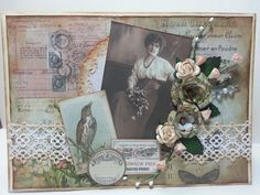 Vintage-y type birthday card using Tim Holtz paper and some embellishments.