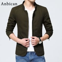 Anbican Brand 2017 Spring and Autumn Mens Casual Jackets Solid Cotton Coats Men Army Military Classic Jackets Plus Size 4XL 5XL