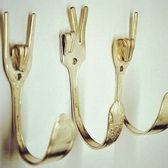 awesome hooks made from repurposed forks