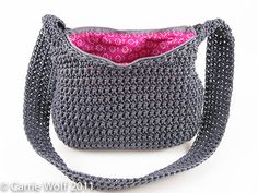 Crochet Nylon Handbag Pattern Digital by ModernNeedlepoint Crochet Purse Patterns, Crochet Motifs, Crochet Stitches, Tote Pattern, Bag Patterns, Sewing Patterns, Wallet Pattern, Crochet Crafts, Crochet Yarn