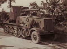 A SdKfz 8 12 ton halftrack with a mounted Flak 18 used for anti tank duty