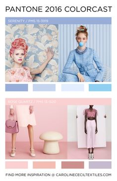#carolinececiltextiles Pantone Color Forecast 2016 | trend | color | ss16 | aw16 | fw16 | fashion trends | pastel | rose quartz | serenity | pastel blue