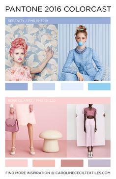 #carolinececiltextiles Pantone Color Forecast 2016   trend   color   ss16   aw16   fw16   fashion trends   pastel   rose quartz   serenity   pastel blue