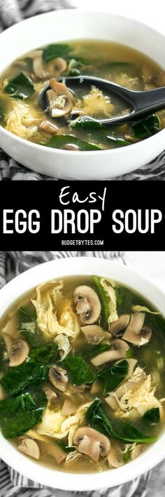 This quick and easy egg drop soup is warm and soothing on cold days or when you're feeling under the weather. @budgetbytes