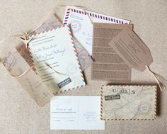 Vintage Air Mail Wedding Invitation (New Jersey) Airplane Wedding Invitations, Wedding Invitation Card Design, Creative Wedding Invitations, Wedding Invitation Samples, Destination Wedding Invitations, Wedding Stationery, Invitation Ideas, New Jersey, Save The Date