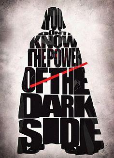 Star Wars Darth Vader Print - Darth Vader from Star Wars Movie Series - Minimalist Illustration Typography Art Print & Poster