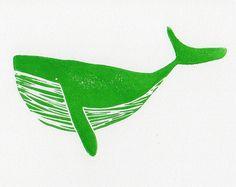 Green Humpback Whale linocut woodblock printmaking art print 7 x 5
