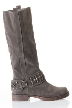 Grey Knee High Studded Strap Moto Boot