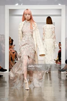 A model walks the runway at the Zimmermann fashion show during New York Fashion…