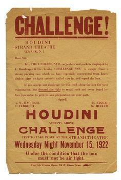 Houdini, Harry. Houdini packing box challenge, 1922