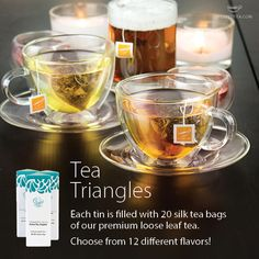 Our loose leaf tea is available in Tea Triangles for easy, on-the-go brewing. Choose from 12 different flavors, each which come in Steeped Tea Triangle Tin. http://www.westplextea.com