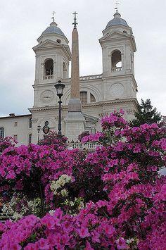 Rome, place d'Espagne, Trinité des Monts,