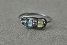 oxidized sterling silver aquamarine ring