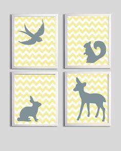 Nursery Art Boy Forest Animals Chevron Yellow Grey set of 4 each 8x10. $48.00, via Etsy.