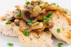 Poitrines de poulet sauce au vin blanc et champignons...
