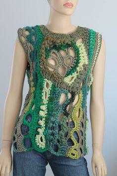 Thick Freeform Crochet Sweater - Vest  - Top - Tunic -Wearable Art - OOAK.