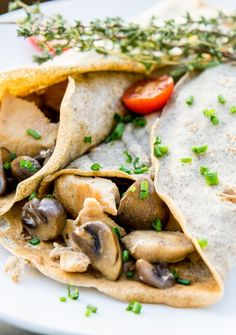Buttermilk Buckwheat Crepes With Chicken and Mushrooms.