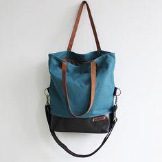 Schultertaschen - Segeltuchleder-Schulterbeutel der Frauen,Tasche - ein Designerstück von Lisa-Krasil bei DaWanda