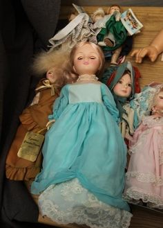"Dolls incl porcelain, plastic, stuffed animals, some incl ""Hilary by Dianna Effenby"""
