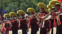 Tibetan monks play horns during the celebration event at the Potala Palace marking the anniversary of the founding of the Tibet Autonomous Region, in Lhasa Le Tibet, Lhasa, 50th Anniversary, Beijing, Images, History, Horns, Palace, Celebration