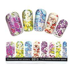 $1.99 16Pcs/Set Nail Wraps Full Stickers Colorful Flower Pattern Stickers Nail Decoration C013 - BornPrettyStore.com