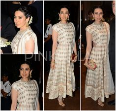 Karisma Kapoor in Anita Dongre  Karisma Kapoor kept it simple and elegant in a cream and gold anarkali by Anita Dongre for Arpita Aayush wedding Reception. Hair back in a bun with gajra, gold jewellery by Jet Gems, Jimmy Choo sandals and a clutch by Princess K rounded off her look. She was styled by Esha Amin.
