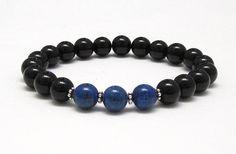 Denim Lapis Lazuli and Onyx Mala Bracelet with Flower Bali Sterling Silver Beads www.AthenaisJewelry.etsy.com