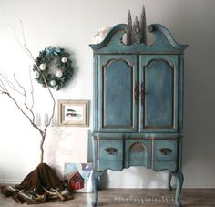 Gorgeous Cabinet in Key West Blue / French Farmhouse Coastal Style by TheTurquoiseIris on Etsy