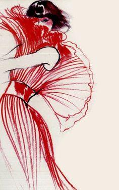 Fashion illustration from UK Vogue, 1973.