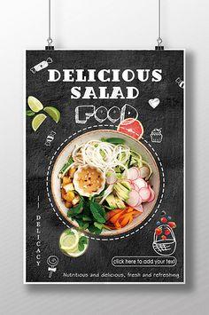 Salad, thức ăn ngon, thơm ngon!#pikbest#templates Food Menu Design, Food Poster Design, Post Design, Different Salads, Menu Flyer, Food Template, Restaurant Flyer, Retro Recipes, Burger