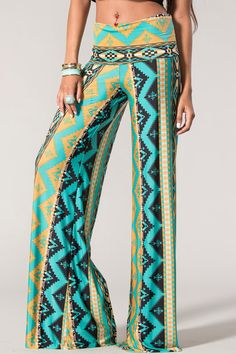 Green Printed Wide Leg Pants by SabrinaFashionTrends on Etsy, $40.00