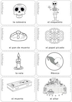 Day of the Dead Halloween Vocabulary, Halloween Worksheets, Spanish Teaching Resources, Spanish Lessons, French Lessons, Vocabulary Activities, Preschool Activities, French Language Learning, German Language