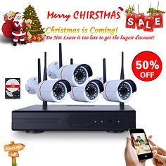 ANRAN 4 Channel 720P WIFI Wireless NVR System Home Surveillance Security System with 4pcs Outdoor/Indoor 720P 1.0 Megapixel HD WIFI IR IP Cameras 1TB HDD Plug&Play