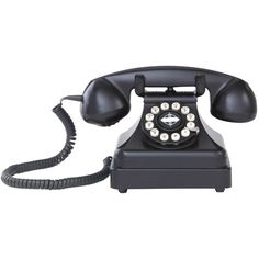Dot & Bo Rotary Executive Table Phone in Black (63 CAD) ❤ liked on Polyvore featuring home, furniture, tables, accent tables, decor, fillers, black, electronics, black telephone table and onyx furniture