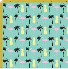 Pineapple Flamingo and Palm Tree Fabric by PalmRowPrints on Etsy