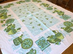 Printed Cotton Tablecloth,  Fruit Flowers, Aqua Turquoise Blue Green White, Vintage Cottage Farmhouse Kitchen, 52 x 64 rectangle