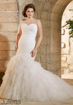 "Wedding Dresses By Julietta featuring Asymmetrically Draped and Ruffled Soft Net Available in Three Lengths: 55"", 58"", 61"". White, Ivory"