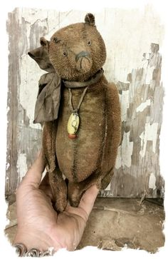 "Image of Worn Old STUBBLE Mohair Bear 9"" Antique Style - * By Whendi's Bears"