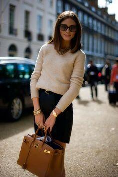 beige cashmere sweater, black pencil, killer bag