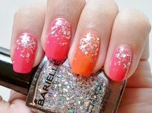 Neon and Glitter Nails